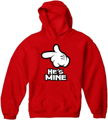 Cartoon Hands He's Mine Adult Hoodie