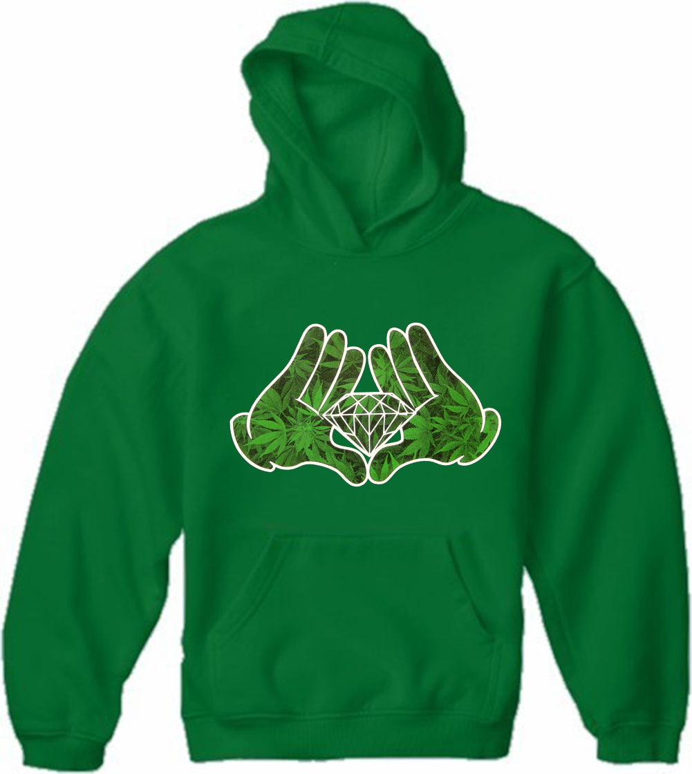 Cartoon Hands Pot Leaf Diamond Adult Hoodie