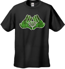Cartoon Hands Pot Leaf Diamond Men's T-Shirt