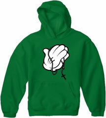 Cartoon Hands Praying Adult Hoodie
