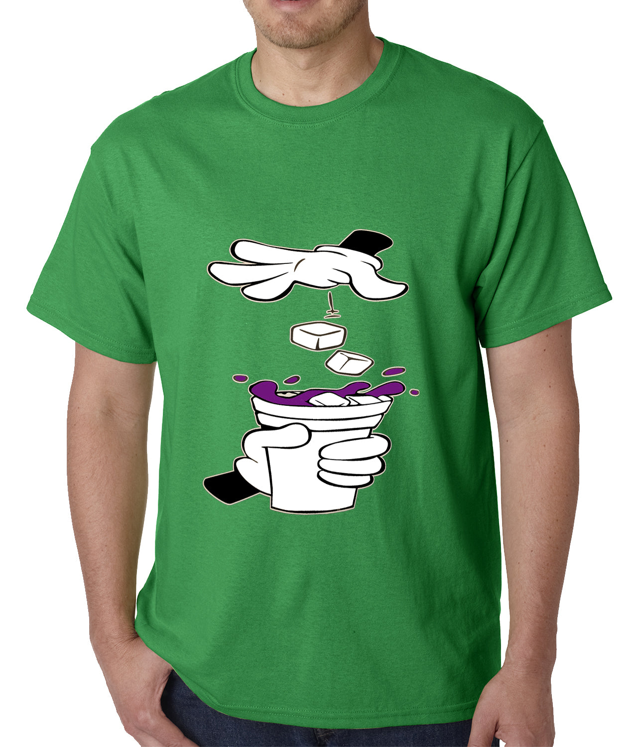 Cartoon Hands - Purple Drink Mens T-shirt
