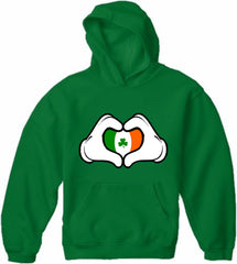 Cartoon Heart Hands Irish Flag Adult Hoodie