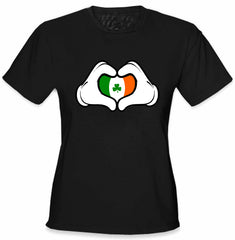 Cartoon Heart Hands Irish Flag Girl's T-Shirt Black