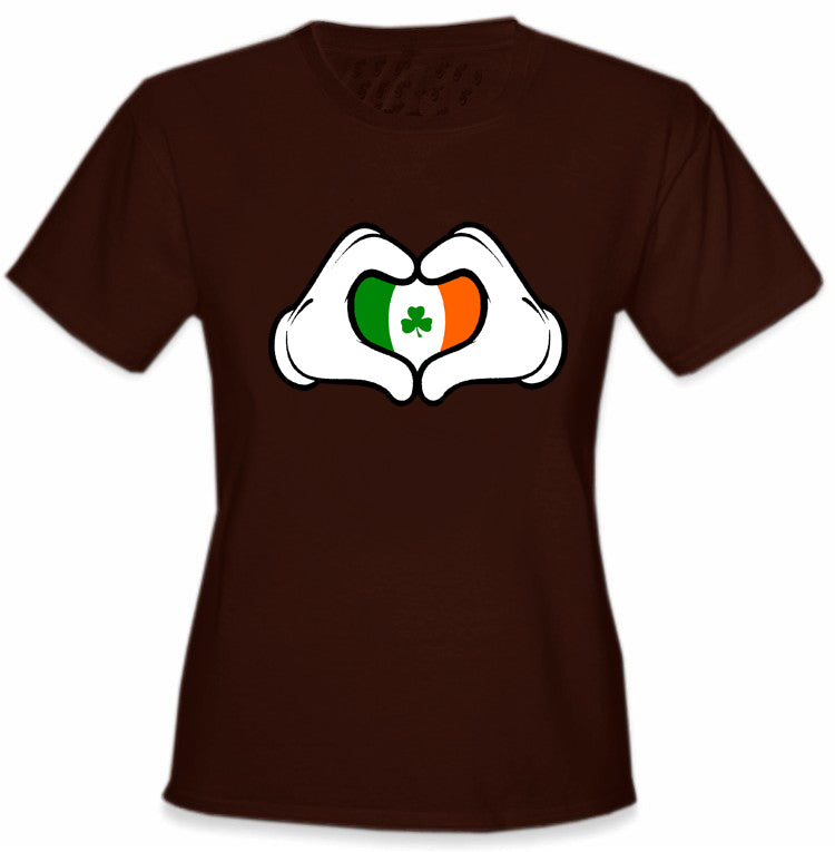 Cartoon Heart Hands Irish Flag Girl's T-Shirt Brown