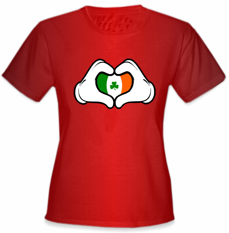 Cartoon Heart Hands Irish Flag Girl's T-Shirt Red