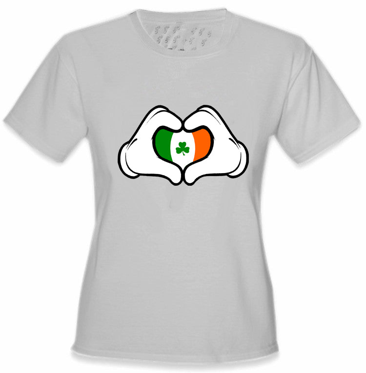 Cartoon Heart Hands Irish Flag Girl's T-Shirt Light Grey