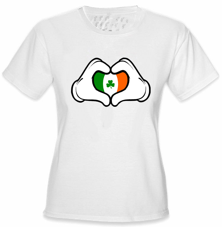 Cartoon Heart Hands Irish Flag Girl's T-Shirt White