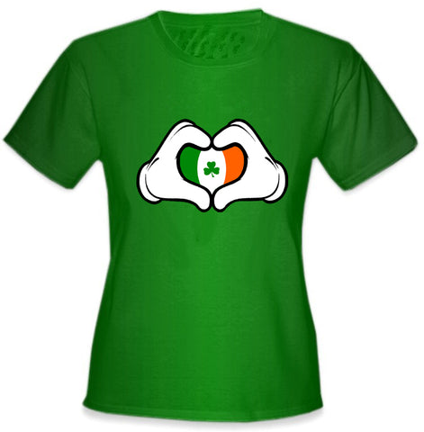 Cartoon Heart Hands Irish Flag Girl's T-Shirt Kelly Green