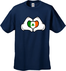Cartoon Heart Hands Irish Flag Men's T-Shirt