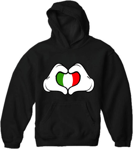 Cartoon Heart Hands Italian Flag Adult Hoodie