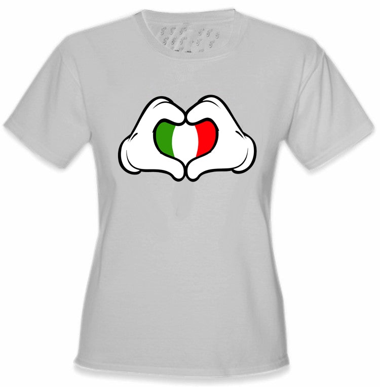 Cartoon Heart Hands Italian Flag Girl's T-Shirt