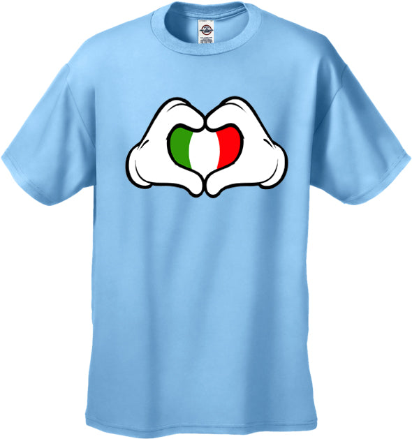 Cartoon Heart Hands Italian Flag Men's T-Shirt