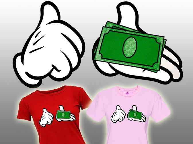 Cartoon Money Hands Girls T-Shirt