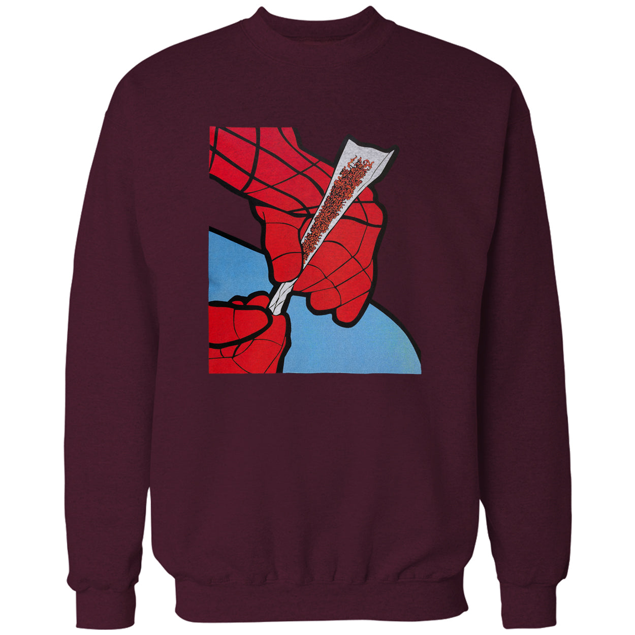 Cartoon Spider Hands Rolling Up Adult Crewneck