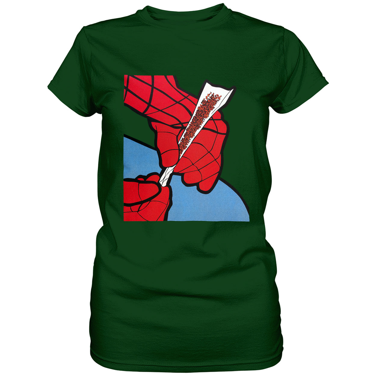 Cartoon Spider Hands Rolling Up Ladies T-shirt