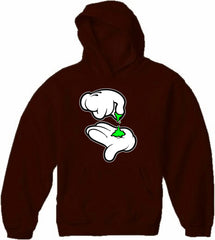 Cartoon Weed Hands Adult Hoodie