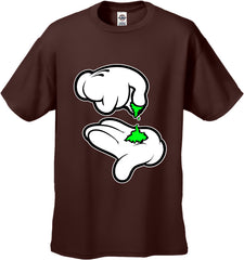 Cartoon Weed Hands Men's T-Shirt Brown