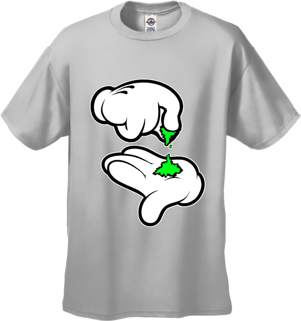 Cartoon Weed Hands Men's T-Shirt White