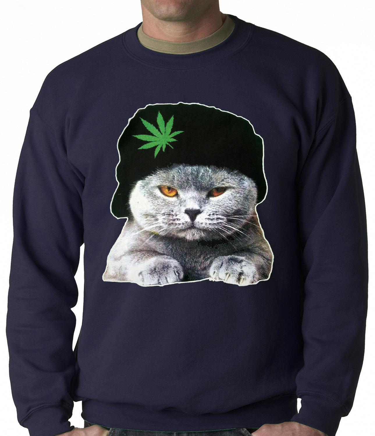 Cat Wearing Pot Leaf Hat Adult Crewneck