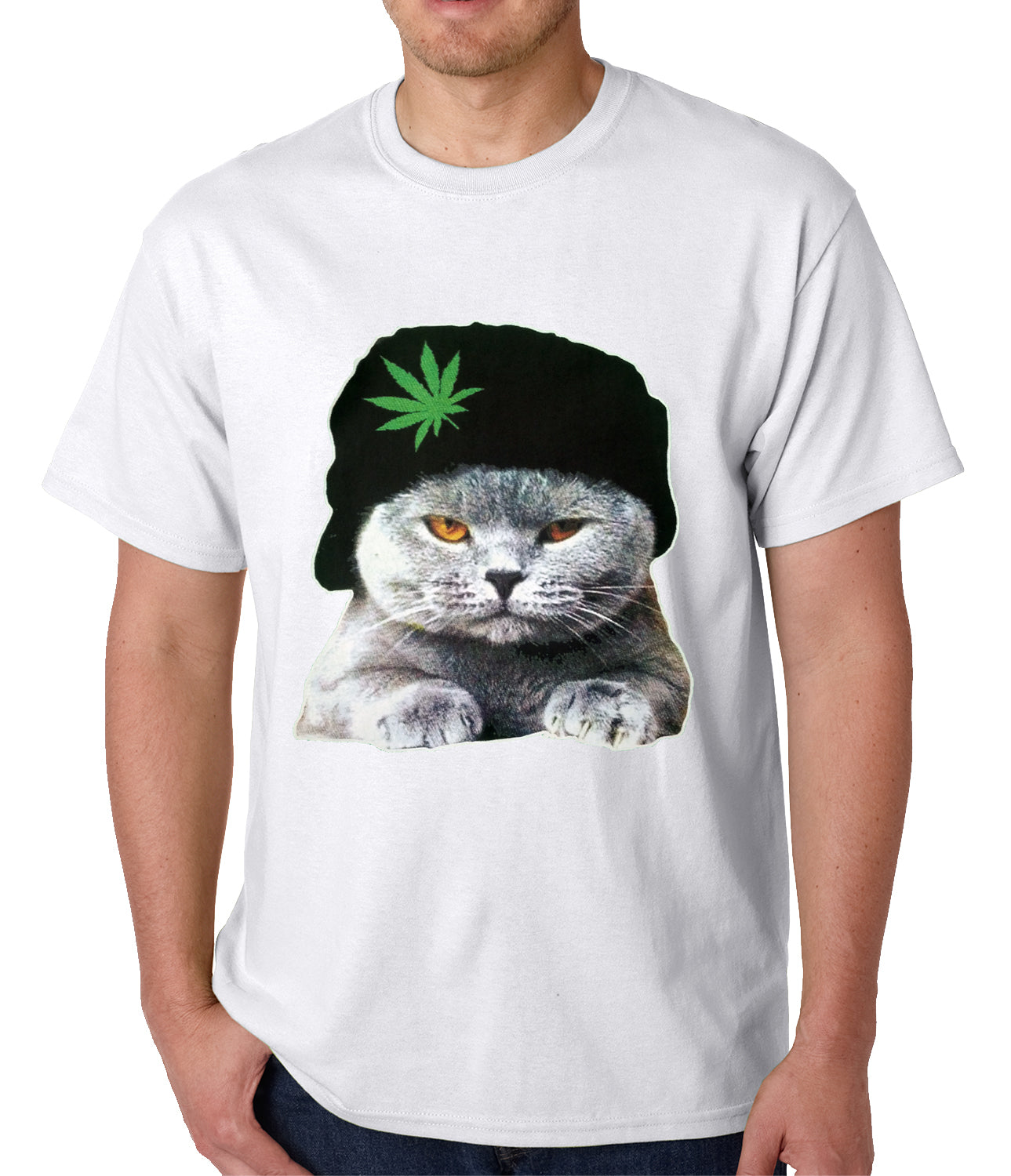 Cat Wearing Pot Leaf Hat Mens T-shirt