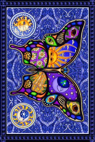 Night and Day Butterfly Tapestry