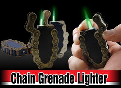 Bike Chain Grenade Green Flame Torch Lighter