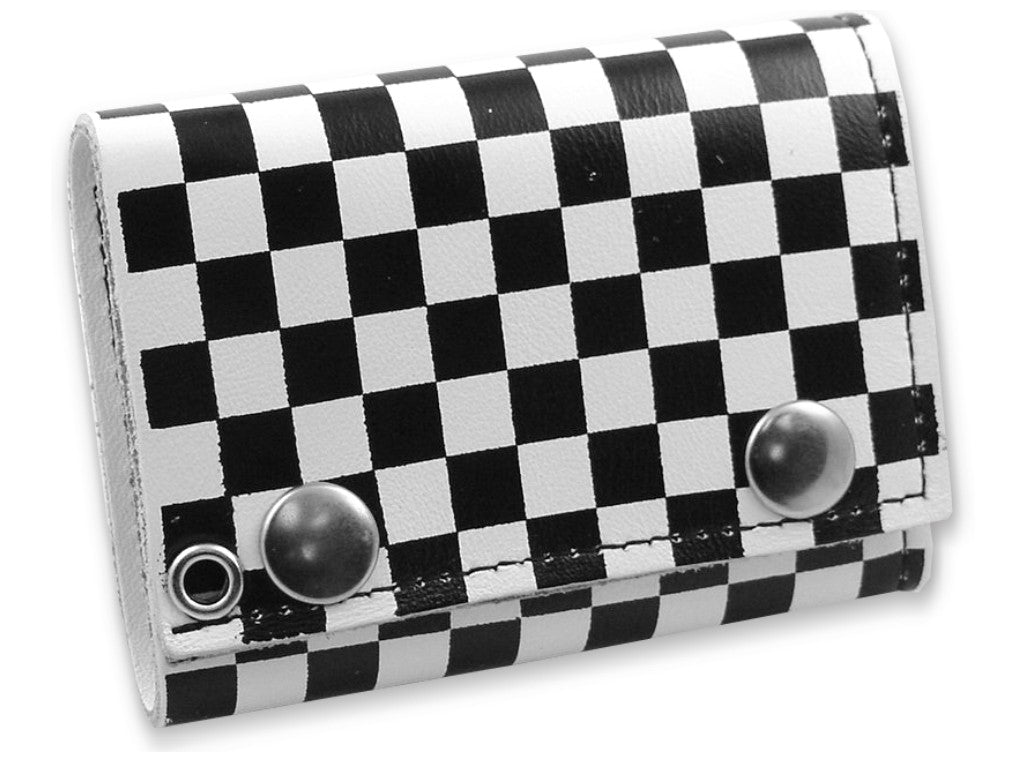 Checker Board White Leather Chain Wallet