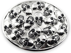 Chrome Skull Pile Buckle With FREE Leather Belt