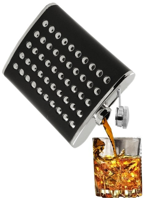 Chrome Studded Leather Wrap Hip Flask