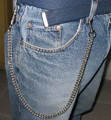 Classic 17 Inch Steel Jean & Wallet Chain With Leather Strap