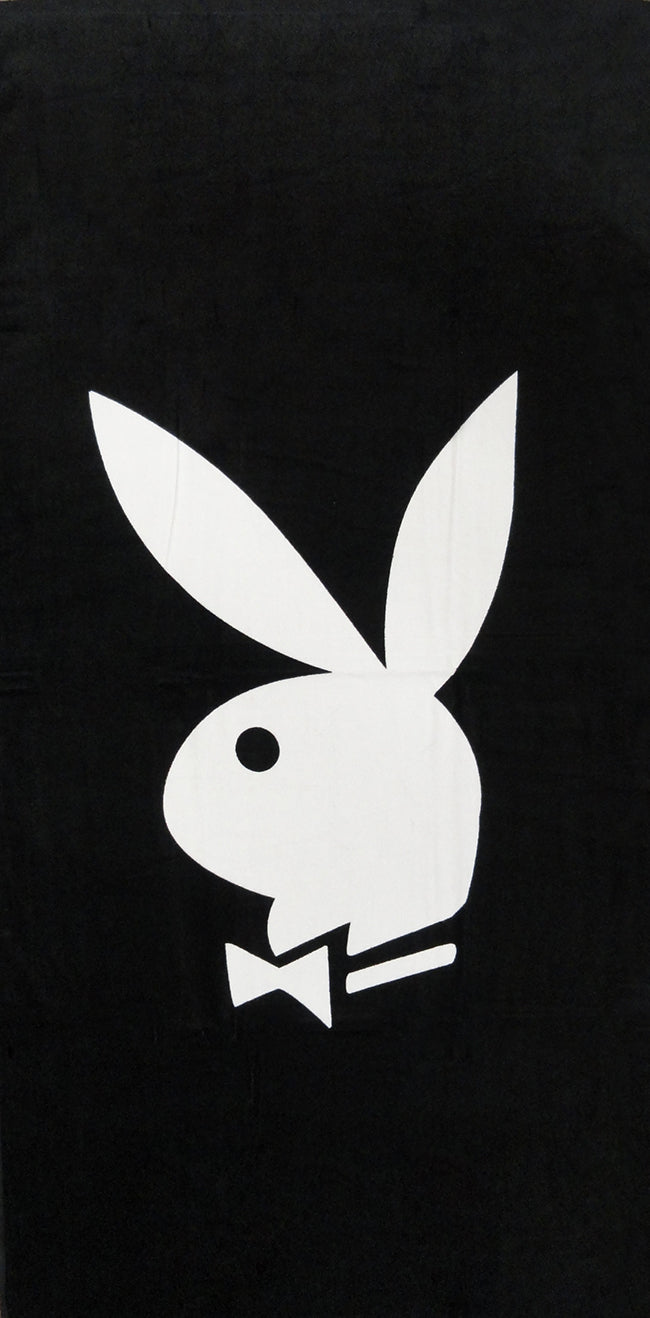 "Classic Black & White PlayBoy Beach & Bath Towel (30"" x 60"")"