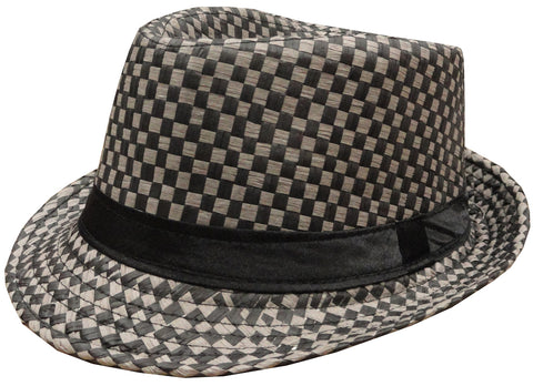 Classic Checkered Fedora (Black/Grey)