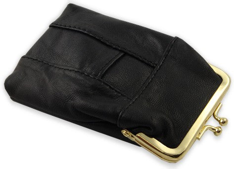Classic Leather Cigarette Purse with Lighter Holder (Black) (For Regulars And 100's)