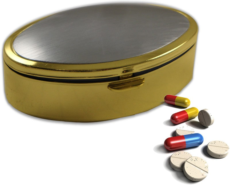 Classic Two Tone Oval Pill Box