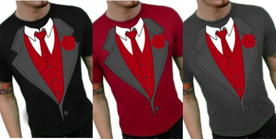 Tuxedo Shirts - Formal Tuxedo T-Shirt With Red Tie And Rose