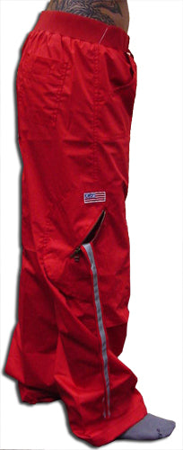 Comfort Waist Circular Pocket UFO Girls Hipster Pants (Red)