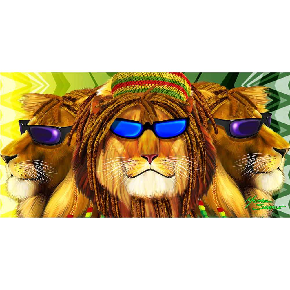 Cool Rasta Lion with Sunglasses Velour Beach Towel