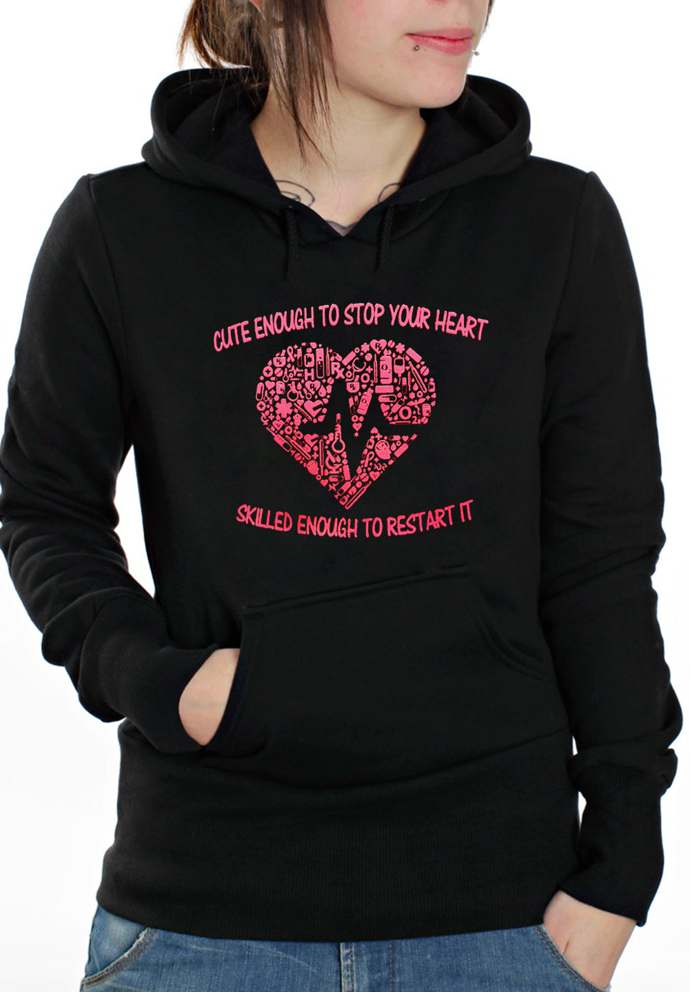 Cute Enough To Stop Your Heart Adult Hoodie