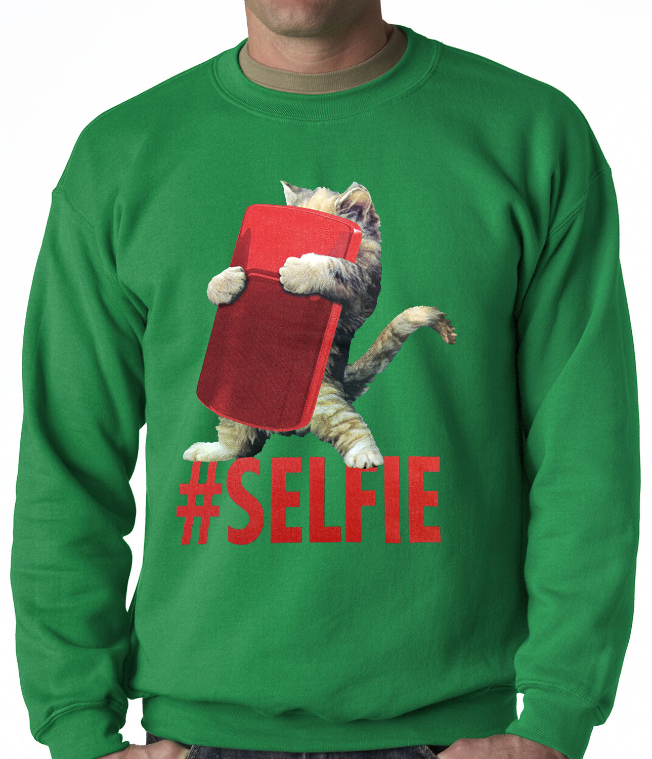 Cute #Selfie Kitten Adult Crewneck
