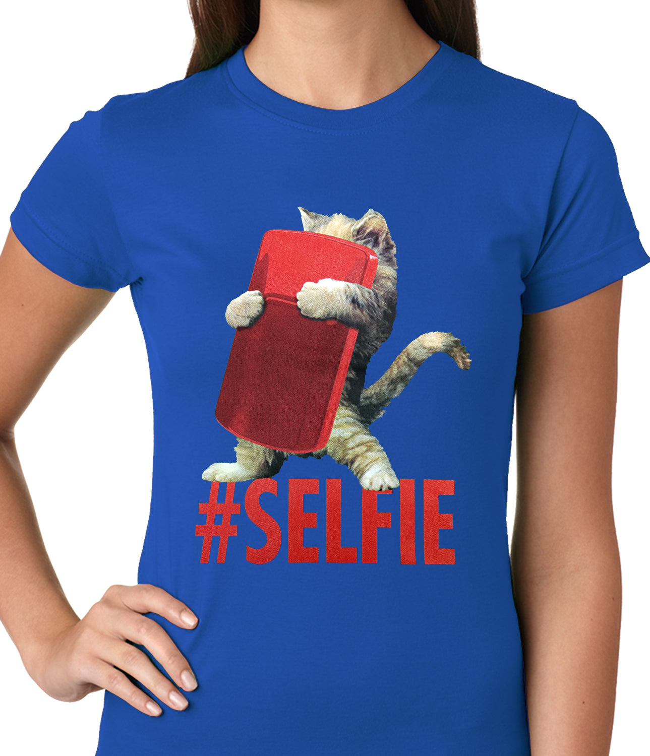 Cute #Selfie Kitten Ladies T-shirt