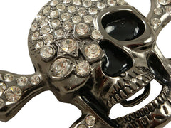 Cyclops Skull & Crossbone Rhinestone Belt Buckle With FREE Leather Belt
