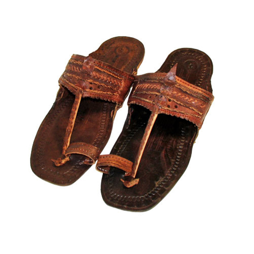 Dark Brown Unisex Water Buffalo Hippie Jesus Sandals Bewild