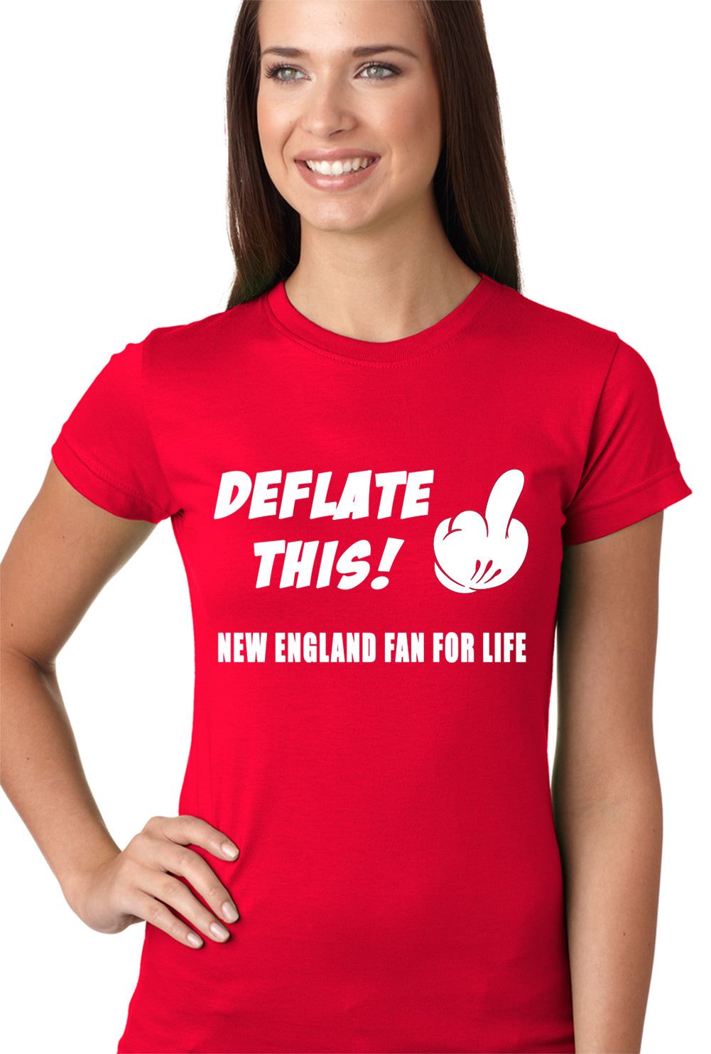 Deflate This! Middle Finger New England Fan For Life Girls T-shirt