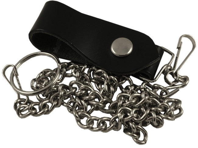 "Deluxe 30"" Leather & Steel Wallet Chain"