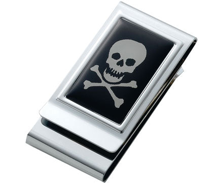 Deluxe Chrome Skull -n- Cross Bones Money Clip