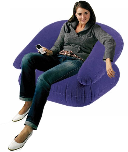 Deluxe Comfort Velvet Inflatable Adult Size Chair (Blue) On Sale!