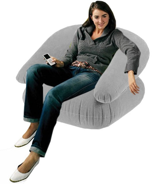 Deluxe Comfort Velvet Inflatable Adult Size Chair Grey