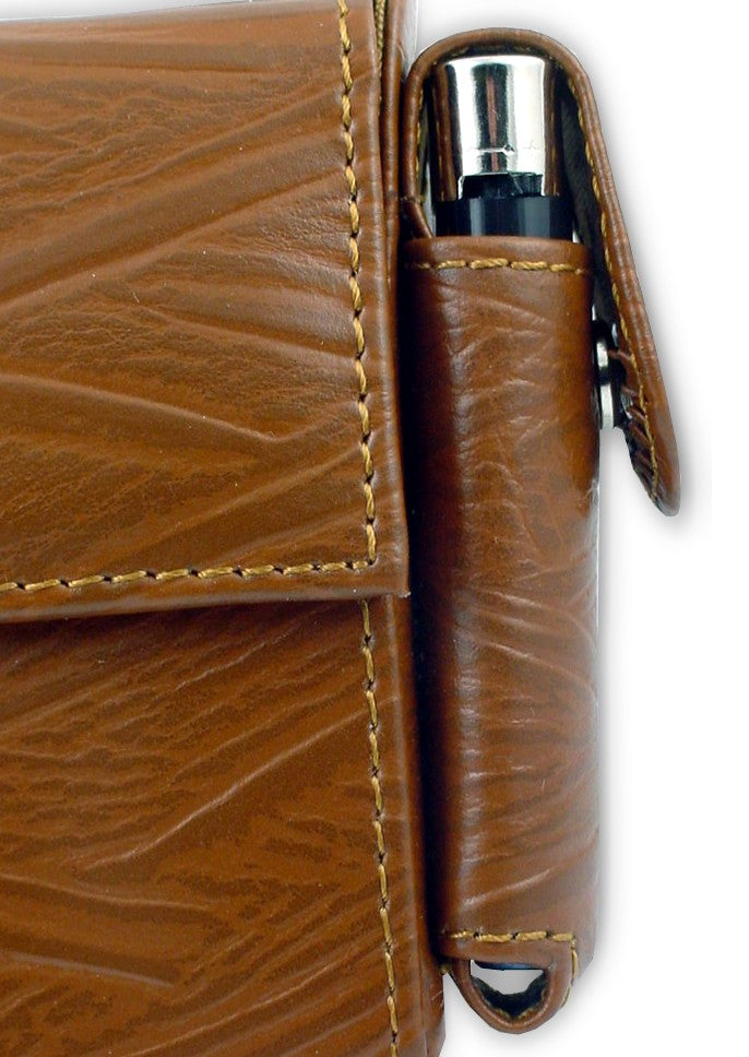 Deluxe Distressed Leather Cigarette and Lighter Case Side