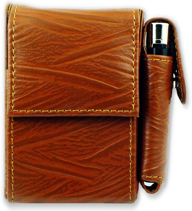 Deluxe Distressed Leather Cigarette and Lighter Case