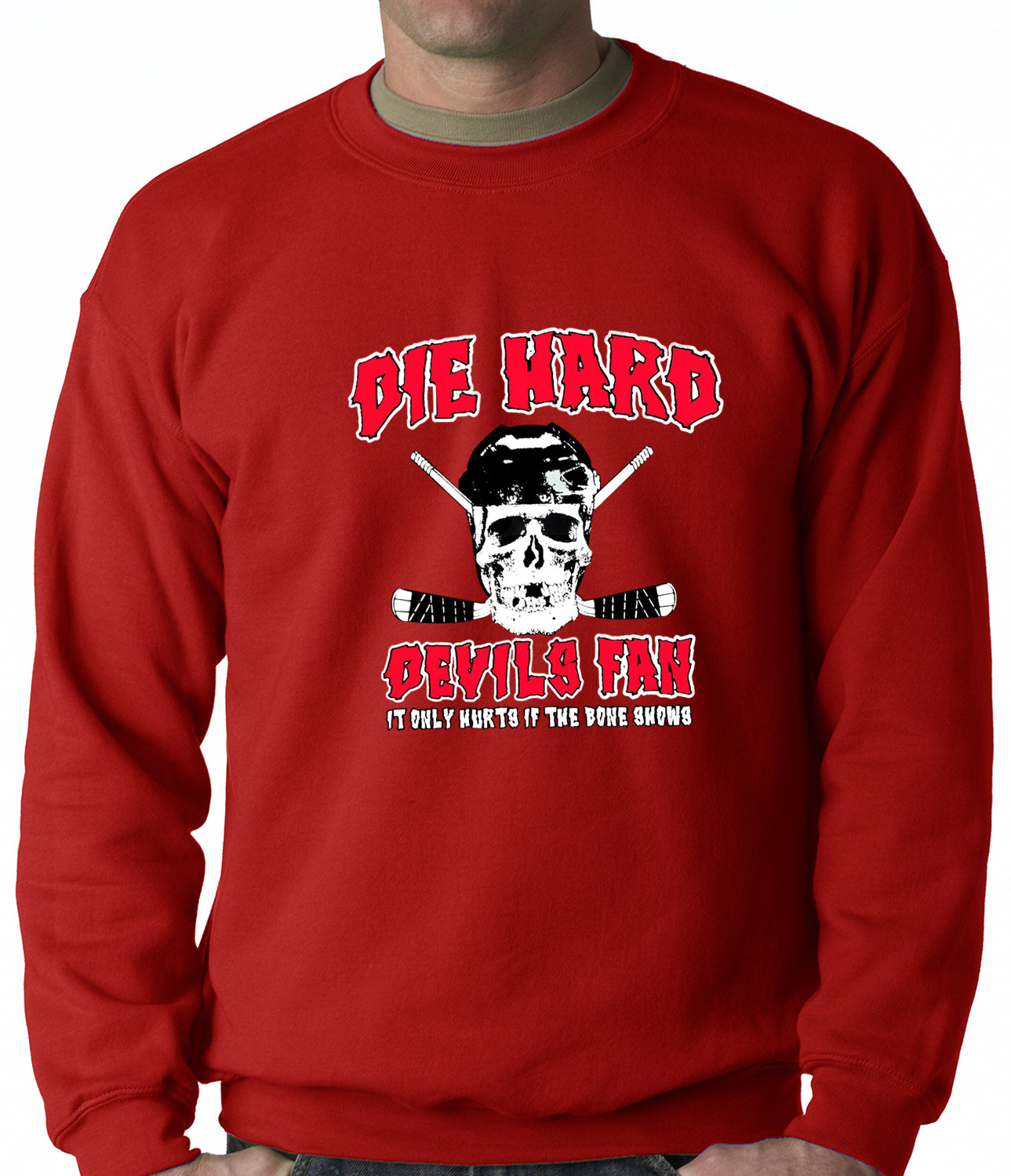 Die Hard Devils Fan Hockey Crewneck Sweatshirt